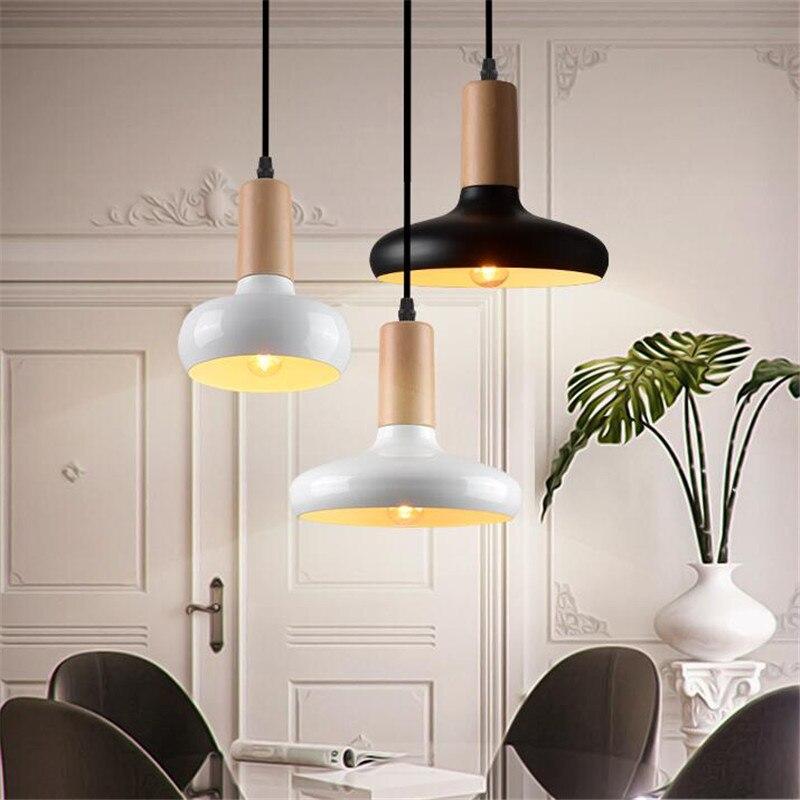 Vintage Industry Europe Black/White Iron Wood Led E27 Pendant Light for Dining Room Living Room Restaurant AC 80-265V 1502<br><br>Aliexpress