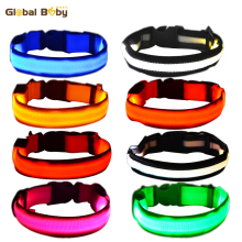 Nylon LED Dog Pet Collar Night Safety Flashing Small Medium Collars and Leash Set