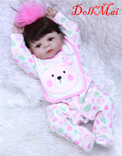 22'' bebe alive reborn bonecas handmade Lifelike Reborn Baby Doll Girls Full Body Vinyl Silicone with Pacifier child gift