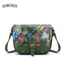 SUWERER Genuine Leather women bags for women luxury handbags women bags designer Rose embossed handbags Retro women leather bag(China)