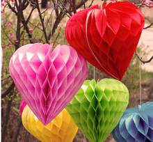 Wholesale Heart shape Tissue Paper Honeycomb Balls 5 pcs/lot Hanging lantern Party Wedding Decoration Home Birthday Baby Shower