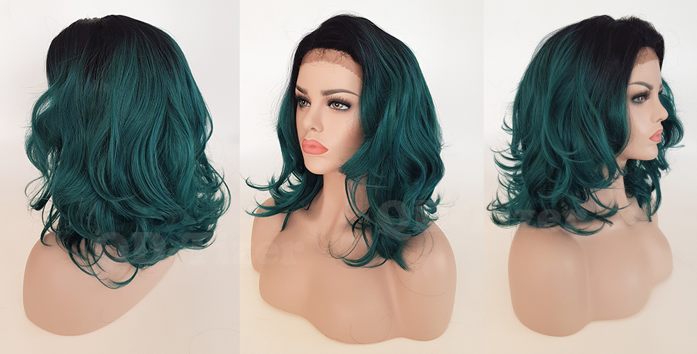 QD-Tizer Short Ombre Wavy Green Color Lace Front Wigs Side Part LOB Hair Synthetic Lace Front Wig for Fashion Girl5