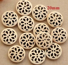 30pcs/lot Size:20mm Natural color hollow out button Flower design wooden button for sewing Wood buttons for garment(ss-3674-366)