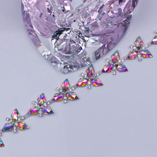Free Shipping 5 yards Crystal Rhinestone Trim, Rhinestone Applique, Wedding Applique,Rhinestone Chain MALI049