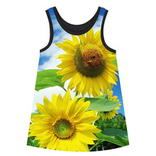Girl clothing bibs dress nice Girls Dresses Lovely sunflower Summer style big brand Print Children Designer baby Kids Clothes