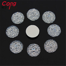 Cong Shao 14mm 200PCS Clear Round Rhinestones Resin Crystal Flat Back Circle Beads Jewelry Accessories ZZ80(China)