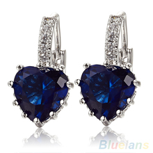 Hot sell Fashion Women's Blue Crystal Heart Leverback Earrings 88YR
