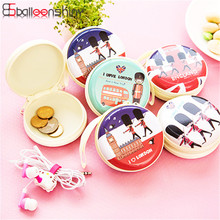 Portable SPTE Zipper Pouch Coins Purse Mini Round Shape Key Cards Money Bag Organizer Small Sundries Holder Storage Bag