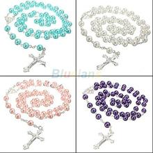 Long Rosary Chain Imitate Pearl Ball Beads Pendant Necklace Silver Drop Cross 5 Colors 023Q(China)
