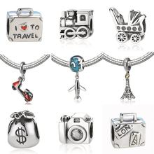 Buy New 925 Sterling Silver Charm Bead Plane Travel Camera Eiffel Tower Beads Fit Pandora Original Bracelet charm DIY Jewelry Gift for $4.55 in AliExpress store