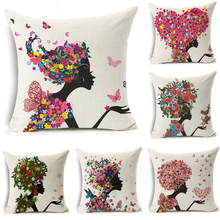 Cushion Covers Lovely Colorful Flower Girls Cotton Linen Cushion Cover Cushions for Sofas Coffee Shop Office Car Home Decorative