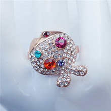 Fashion Rose Gold Rhinestone Fish Smart Cocktail Ring Jewelry For Men Women RB01877