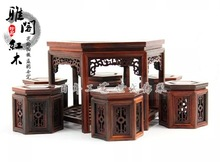 Factory direct mahogany furniture miniature ornaments Rosewood hexagonal tables set model small table stool
