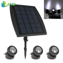 3 x White LED Solar Power Light Outdoor Waterproof Garden Pool Pond Path Road Decoration Security Lamp + 1 x Solar Panel(China)