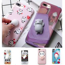 Lovely 3D Cute Soft Silicone Squishy Cartoon Bear Cat claw sea lion phone case for iPhone 6 6S 7 7 plus Cover Animal Kitty Coque(China)