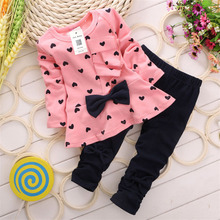 LOVE Lolita Girl Shirts+ Pants Children Clothing Sets Baby Girls Clothes Minnie Cotton Kids Cloth Free Shipping Just Bolato(China)