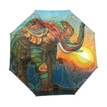 Cartoon Elephant Pattern Umbrella Outdoor Sunscreen UV Folding Black Coating Automatic Umbrella Three Fold Sunny Rainy Umbrella(China)