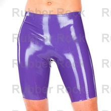 Buy Free Shipping Purple Latex Short Trouser Fetish 100% Latex Rubber Breeches 0.4MM thickness Latex Short Pants