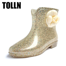 TOLLN Women Rain Shoes Boots Colorful Butterfly Bow Rubber Flats Heels Waterproof Shoes Female Rainboots Martin Ankle Rain Boots