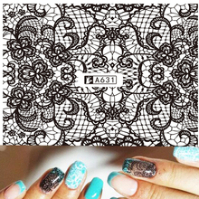 1 Sheets Black Lace Full Cover Water Transfer Tips Nail Art Sexy Lace Sticker Decals Nail Art Decorations DIY Tools A631(China)