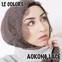 10pcs/lot mixed lace hijab big size plain solid lace scarf fashion viscose cotton maxi lace shawls soft muslim islamic scarves
