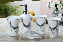 Cup brush bathroom set luxurious fashion China ceramic bathroom set of five pieces toothbrush cup holder(China)