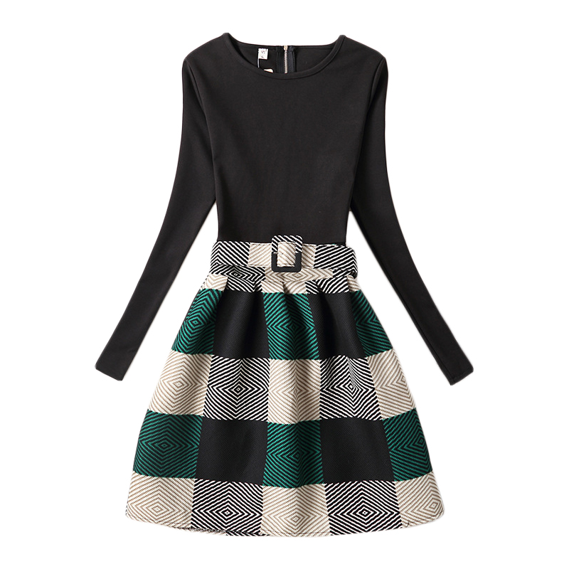 Girls Black Green Plaid Dress 2017 New Fashion Teenage Girls Black Party Dresses With Belt Spring Autumn Clothing 6-20Y GD100H<br><br>Aliexpress
