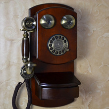 Fashion antique vintage telephone american style home telephone wall-mounted old fashioned mechanical bell rotary dial(China)
