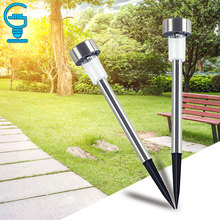 10 pieces Outdoor Stainless Steel Solar Lawn Light Changing Garden Solar Power Lamp for Landscape Path Yard Pathway Lights(China)