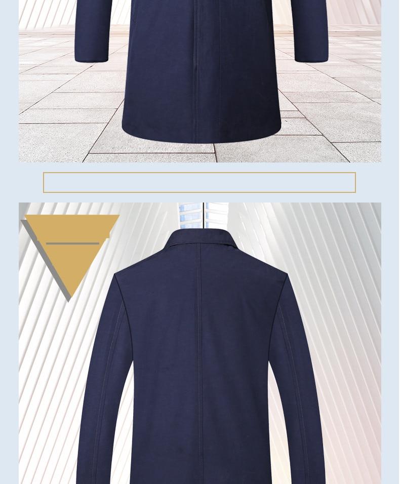 2018 New Spring Mens Casual Trench Coat Khaki blue Longline Thin Windbreaker Coats  (8)
