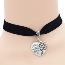 Fashion New Elegant Women's Girls Antique Silver Mother and Daughter Forever Love Gifts Big Hollow Heart Pendant Choker Necklace