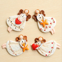 4pcs/set Creative Cute Stereo Resin 3D Fairy Angel Fridge Magnet Refrigerator Stickers 10*7cm Message Sticker for Kids HomeDecor(China)
