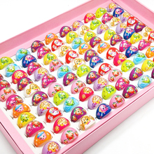 100pcs Rings Wholesale Jewelry Cute Mix Acrylic Cartoon shopkins 1 Fruit Shopping family Girl Kids Rings Christmas present