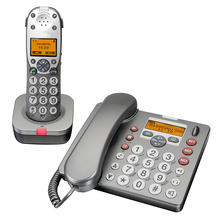 2 Telephones DECT 6.0 Expandable Corded Cordless Phone with Answering System and Caller ID Call Waiting Sliver Telefone For Home