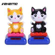 Vehemo Model Doll Dancing Toy Solar Powered Animal Kitten Cat Bobbling Car Ornament Novelty Toy Home Office Swinging Toy(China)