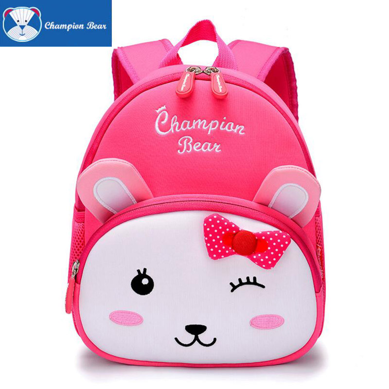 2017 New Toddler Anti Lost Backpack Kids Girl Neoprene Cute Pink Rabbit Character Preschool Bag Infant Travel Infantry Pack 1-6Y<br>