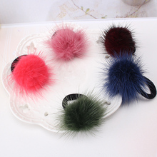 Baby Kids Cute Hair Accessories Headwear Mini Mink Ball Rubber Headbands Girls Children Solid Color Pompon Gum Elastic Hair Band(China)