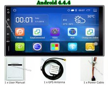 Quad core 2 din android 4.4 2din universal Car Radio MP5 Player GPS Navigation In dash Car PC Audio Stereo video (NO DVD)
