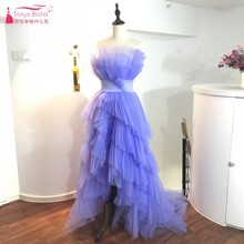 Lavender Hi-Lo Sexy Prom Dresses 2018 Sweep Train Spring New Style Strapless Formal Evening Gowns Short Front Long Back Dress(China)