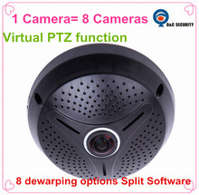 High Performance 1.3MP 960P Indoor IR Fish Eye IP Camera with Virtual PTZ Function Support 8 de-warping options split software