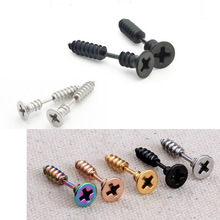 2pcs Gold Black Silver Color Single Fashion Unisex Fine Stainless Steel Whole Cross Screw Stud Earring For Men Women Novelty(China)