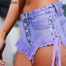 LOGAMI Highwaisted Mini Jeans Shorts Women Both Side Tie Mini Short Sexy Denim Shorts Jeans(China)