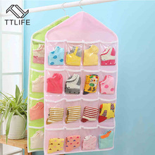 TTLIFE Multi Clear Socks Cosmetic Underwear Sorting Storage Bag Door Wall Hanging Closet Organizer bag Bedroom Wall Door Closet