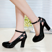 genuine leather women high heels shoes female strap OL COMFORTABLE black work shoes pumps sy-782