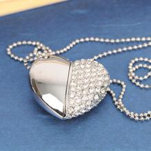 Luxury Heart Jewelry USB Flash Drive 128GB USB 3.0 High Speed Pen Drive 64GB Pendrive 1TB 2TB 32GB 16GB Memory Card Stick Gift