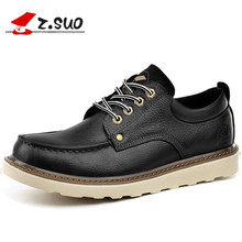 Z.Suo 16208 Brand Genuine Leather Strong Man Tooling Shoes Low Top Classic Solid Color Big Head Toe Men's casual Leather Shoes