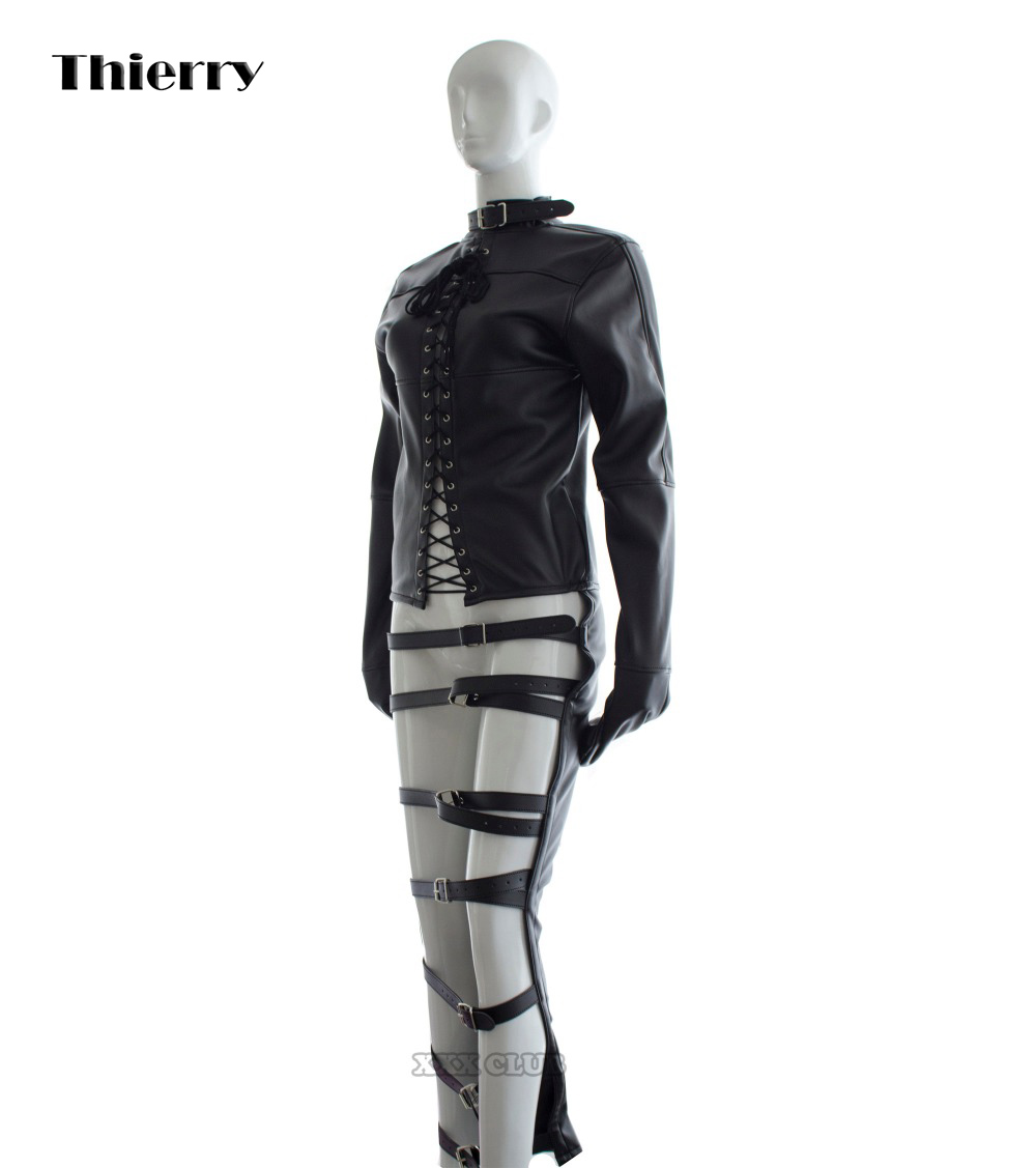 Thierry Adult sex games PU Leather Sexy leg harness  Body Bondage arm sleeve bondage Flirting tame sex slave Sex Toys For Woman<br>