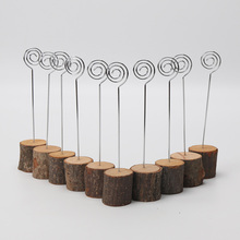 10pcs/pack Wood Base Wedding Table Name Number Holder Decoration Card Holders Picture Memo Note Photo Clip Figure Toy