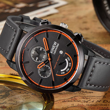 Luxury Watch XINEW Vintage Classic Wristwatch Mens Waterproof Date Leather Strap Sport Quartz Army Watch Relogio Masculino New