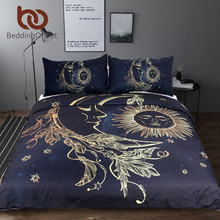 BeddingOutlet 3 Pieces Gold Moon Accompanys Sun Duvet Cover With Pillowcase Black Dark Blue Bedding Set King Size Quilt Cover(China)
